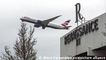 Heathrow hotels. A plane flies over the Renaissance Hotel near Heathrow Airport, London. From Monday UK nationals or residents returning to England from 33 red list countries will be required to spend 10 days in a Government-designated quarantine hotel upon arrival. Picture date: Sunday February 14, 2021. Photo credit should read: Steve Parsons/PA Wire URN:58087677