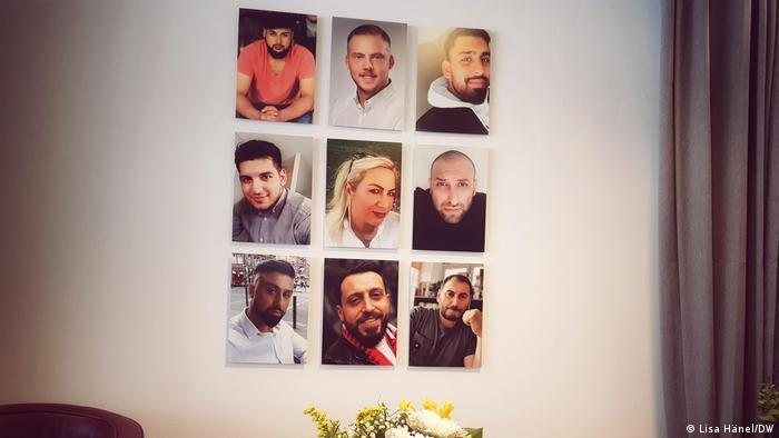 Photos of the nine victims stuck on a wall