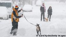 SEATTLE, WA - FEBRUARY 13: A person runs with a dog along a snowy street on February 13, 2021 in Seattle, Washington. A large winter storm dropped heavy snow across the region. (Photo by David Ryder/Getty Images)
