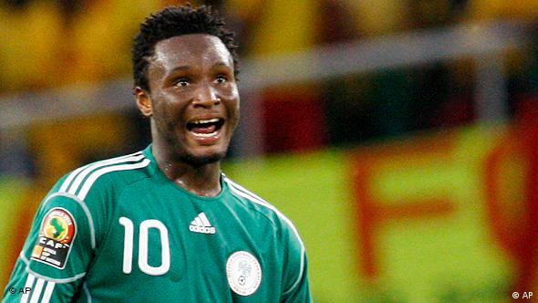 Nigeria's John Obi Mikel during their African Cup of Nations Group C soccer match against Benin at the Ombaka National Stadium in Benguela, Angola, Saturday Jan. 16, 2010. (AP Photo/Themba Hadebe)