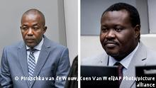 FILE - In this combination file photos taken on Friday Nov. 23, 2018, left and Friday, Jan. 25, 2019, Alfred Yekatom, left, a Central African Republic lawmaker and militia leader who goes by the nickname Rambo, and the chief of Central African Republic's soccer federation Patrice-Edouard Ngaissona appear before the International Criminal Court, ICC, in The Hague, Netherlands. International Criminal Court judges have ordered two alleged leaders of a predominantly Christian militia involved in a bitter conflict with Muslim forces in Central African Republic to stand trial on charges of war crimes and crimes against humanity. (Piroschka van de Wouw/ Koen Van Well/Pool via AP, File)