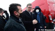 Nord Mazedonien | Zoran Zaev und Aleksandar Vucic an der mazedonische Grenze, Skopje