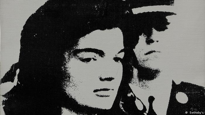 A black-and-white painting showing Jacqueline Kennedy
