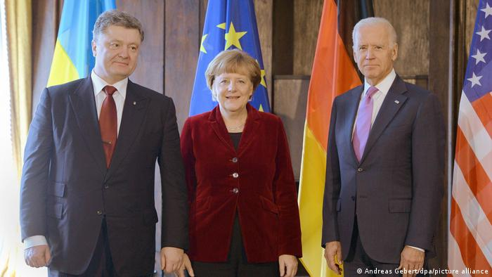 Joe Biden meets with Angela Merkel and Petro Poroshenko