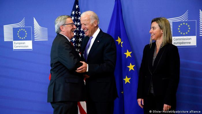 Joe Biden meets Jean-Claude Juncker and Federica Mogherini