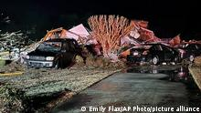 Damaged vehicles sit among debris after a deadly tornado tore through Brunswick County, N.C., Tuesday, Feb. 16, 2021. North Carolina authorities say multiple people are dead and others were injured after a tornado ripped through Brunswick County, leaving a trail of heavy destruction. (Emily Flax/Brunswick County Sheriff's Office via AP)
