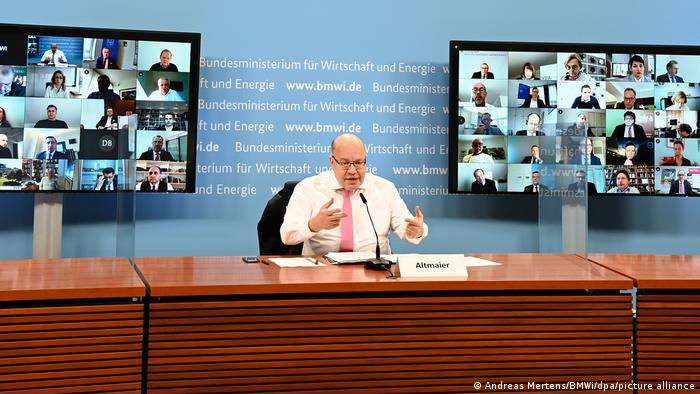 German Economic Minister Peter Altmaier during a video consultation with business leaders