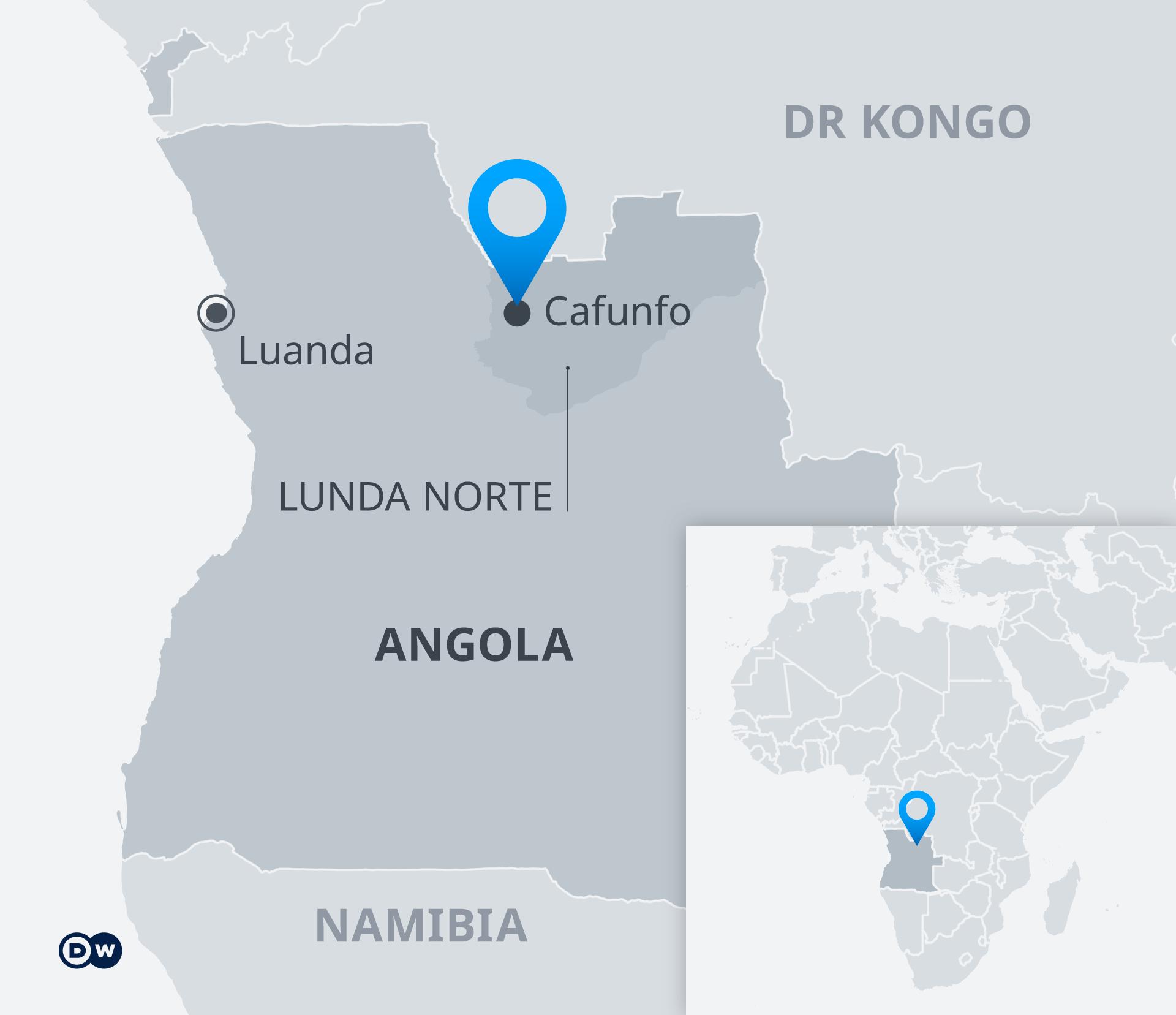 Karte Cafunfo Angola DE
