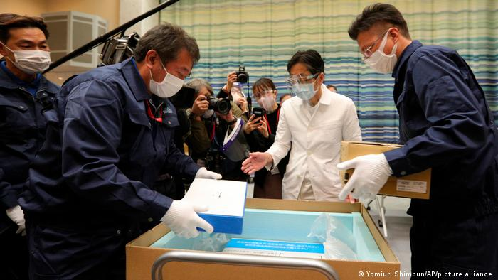 New coronavirus vaccine is delivered to a medical institution in Tokyo