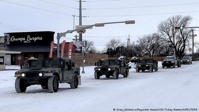US National Guard deployment on snow-covered streets in Texas