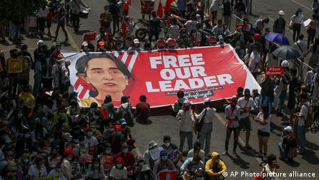 Photo of Aung San Suu Kyi and protest in Myanmar