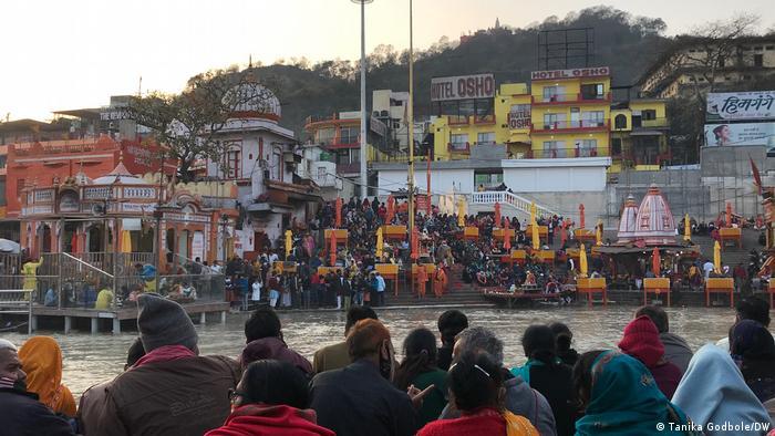 Pilgrims gather on the Ganges River at the Kumbh Mela festival in Haridwar