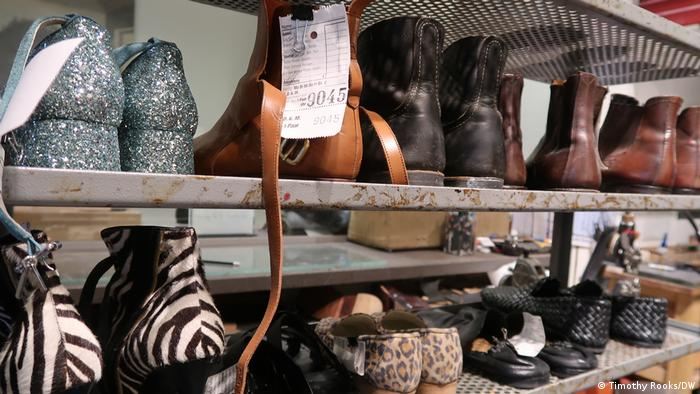 Shoes waiting to be repaired, the only source of income at the moment