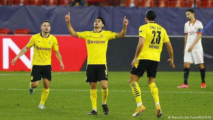 Dahoud celebrates his first ever Champions League goal