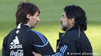 Lionel Messi (L) and Coach Diego Maradonna (R) during a training session of Argentina Soccer team at their base at the Pretoria University High Performance Centre, South Africa, 06 June 2010.