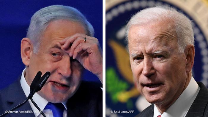 الرئيس الأمريكي جو بايدن ( يمين الصورة) رئيس الوزراء الإسرائيلي بنيامين نتنياهو (يسار الصورة)