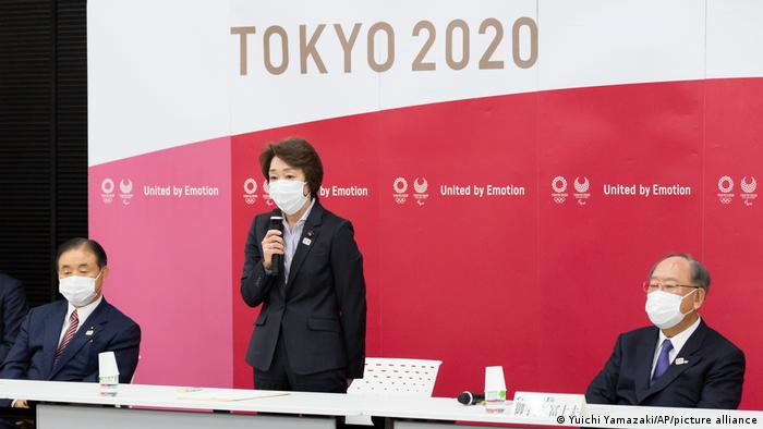 Seiko Hashimoto, president of the Tokyo 2020 Olympics Organizing Committee speaks during the Tokyo 2020 Executive Board meeting.