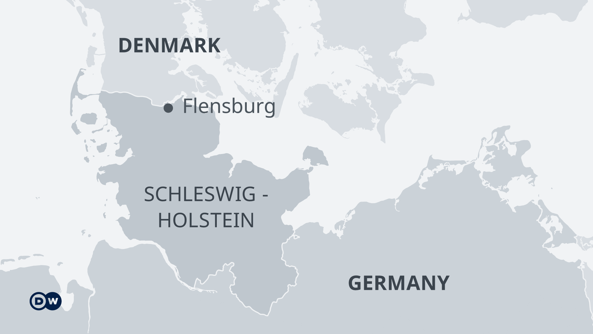 Infographic showing the location of Flensburg near the German-Danish border