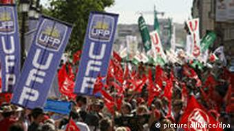 Spanish union members strike in June 2010.