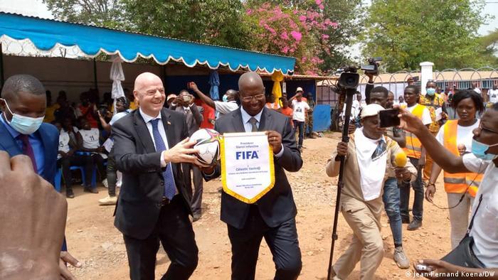 Gianni Infantino on a visit to Bangui