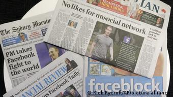 Επικριτικά τα πρωτοσέλιδα για το Facebook στην Αυστραλία μέχρι τις 19 Φεβρουαρίου