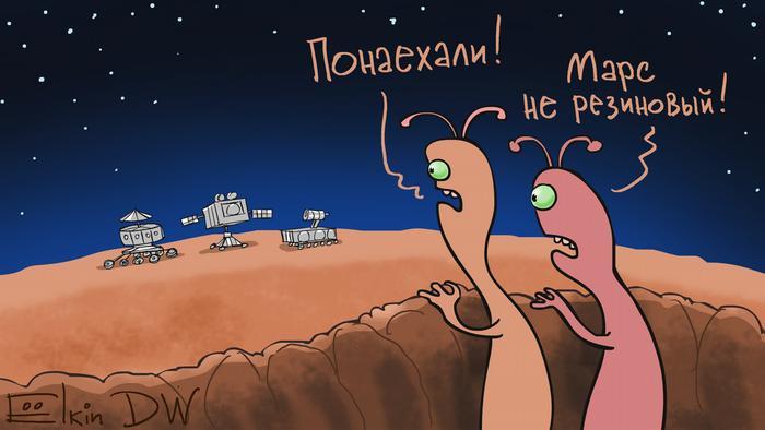 Karikatur von Sergey Elkin zu Auf dem Mars wird es allmählig eng.