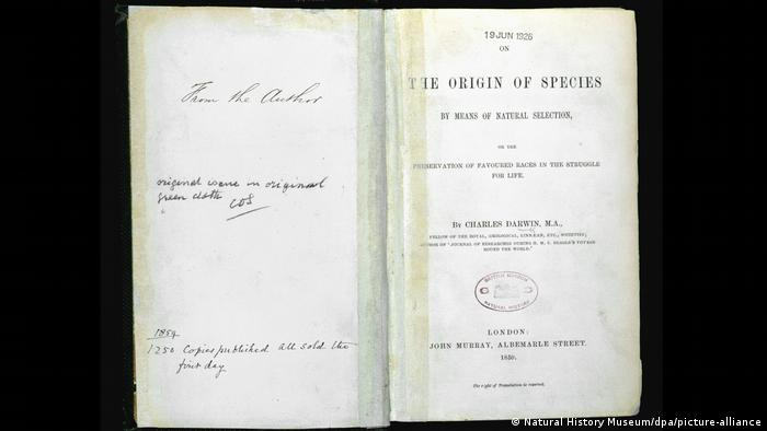 A first edition copy of On the Origin of Species
