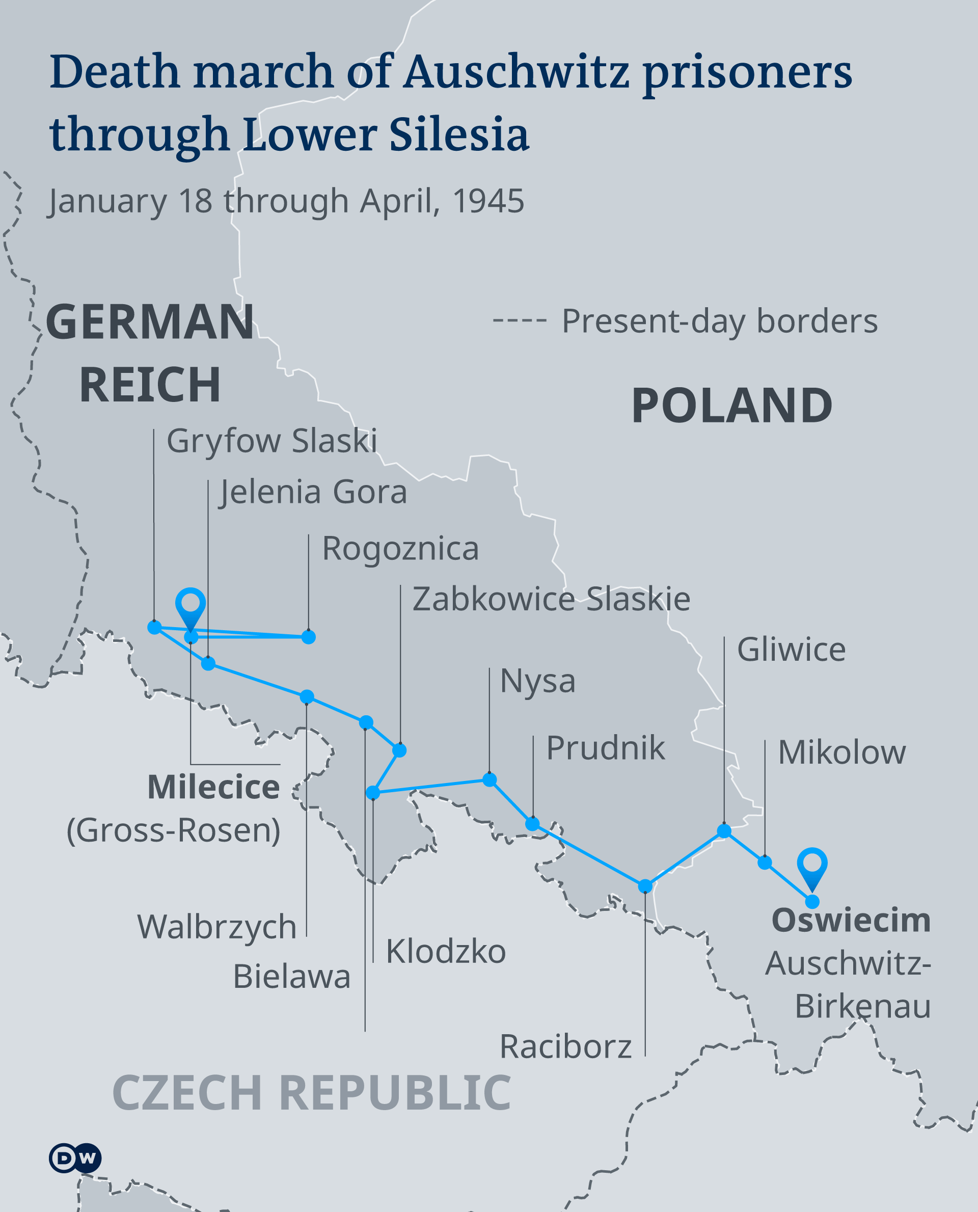 A map showing the route of the Auschwitz death march