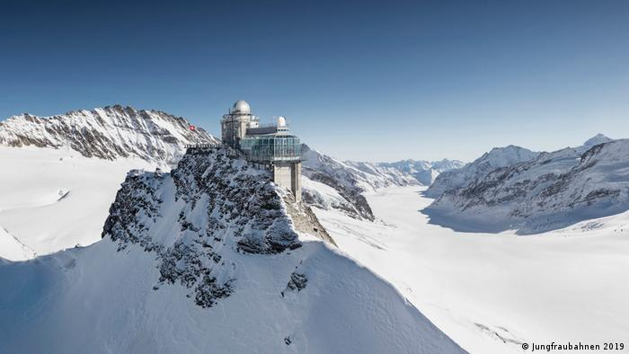 Sphinx Observatory and viewing platform on the Jungfraujoch in Switzerland