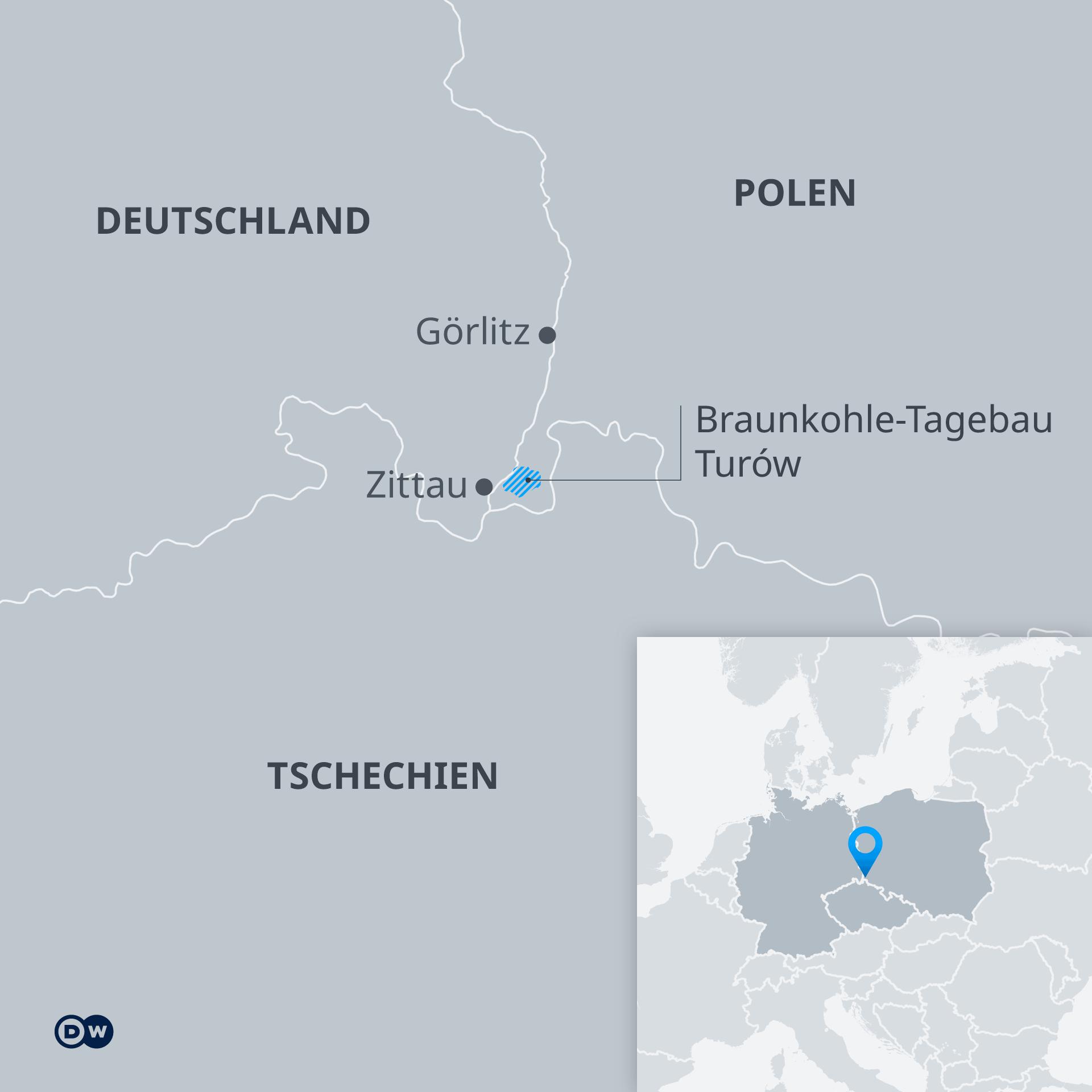 Infografik Karte Braunkohle-Tagebau Turow in Polen DE