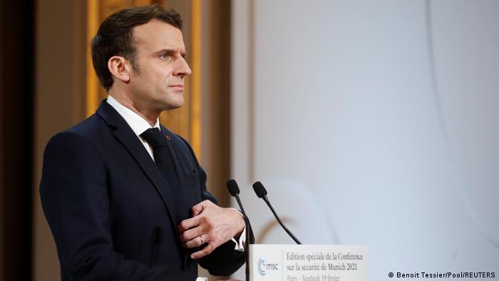 Frankreichs Staatschef Emmanuel Macron spricht auf der Münchner Sicherheitskonferenz