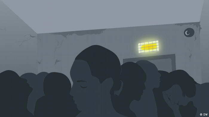 silhouettes of people crammed into a windowless room