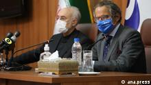 Chef der iranischen Atomenergiebehörde Ali Akbar Salehi und Rafael Grossi, Chef der IAEO