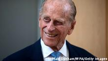 Prince Philip, Duke of Edinburgh, smiles