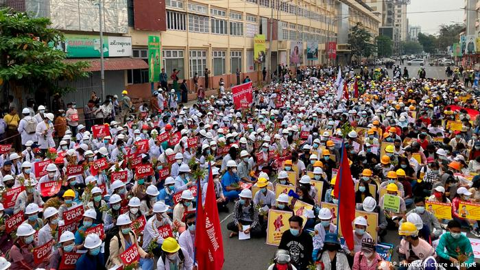 Protesters in Mandalay demanded release of civilian leaders