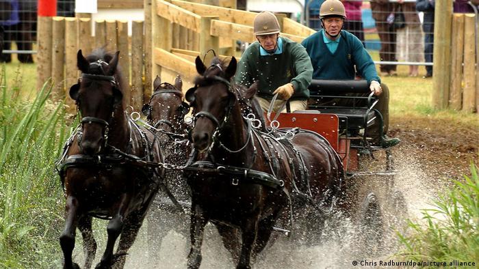 El príncipe Felipe en un carruaje tirado por caballos, en 2005.