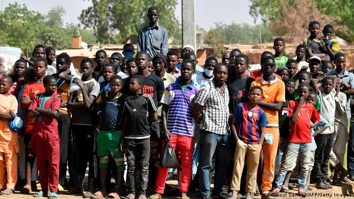 Crowds outside a polling station in Niamey