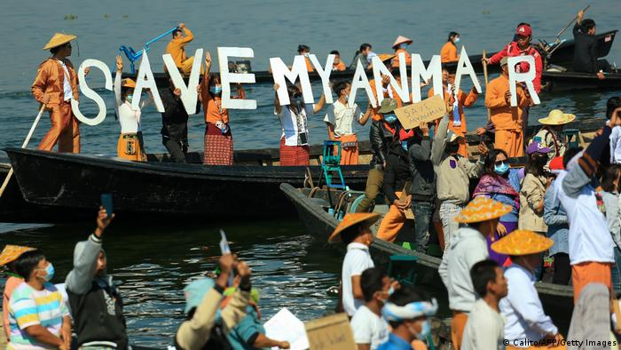 Myanmar Inle lake. Shan |nach Militärputsch | Protest der Shan