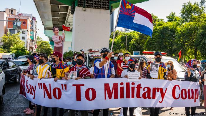 Protesters join an anti-coup demonstration in Yangon, Myanmar