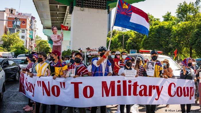 Demonstrasi di Yangon, Myanmar