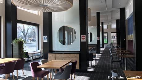 An empty breakfast room in the Novotel hotel in Berlin