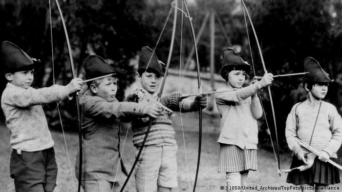 Prince Philip is seen during archery practice at the MacJannet School at St Cloud, France in about 1929
