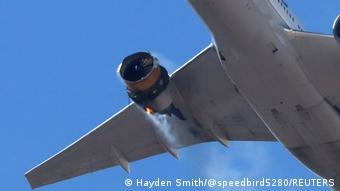 Горящий двигатель рейса UA328