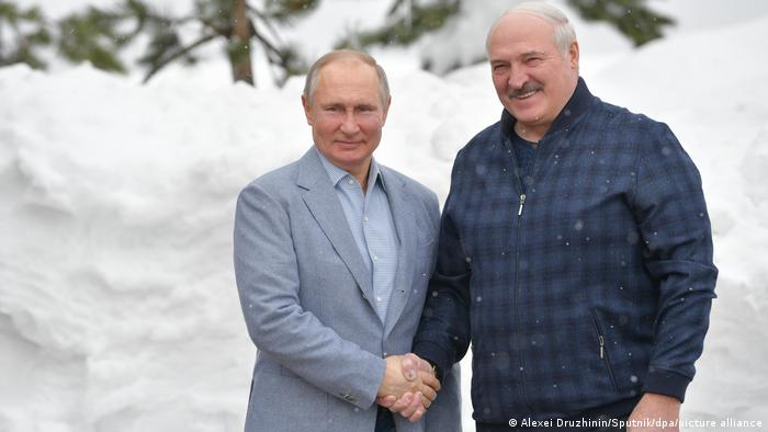 Путин и Лукашенко на встрече 22 февраля