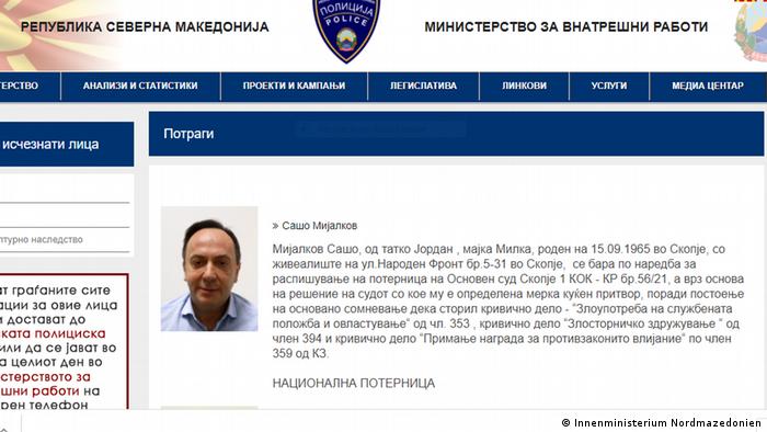 Screenshot von Fahndung gegen Saso Mijalkov