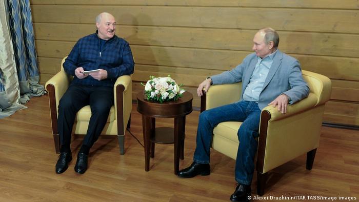 Александр Лукашенко в гостях у президента России Владимира Путина в Сочи, февраль 2021 года