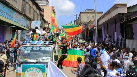 Ethiopians at a public political rally on the streets.
