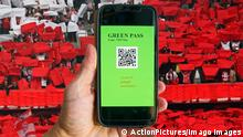 Symbol: Green Pass for Corona Covid-19 vaccinated people, so they can take part in cultural events like concerts, exhibitions in Marktoberdorf, Germany, February 20, 2021. photomontage
