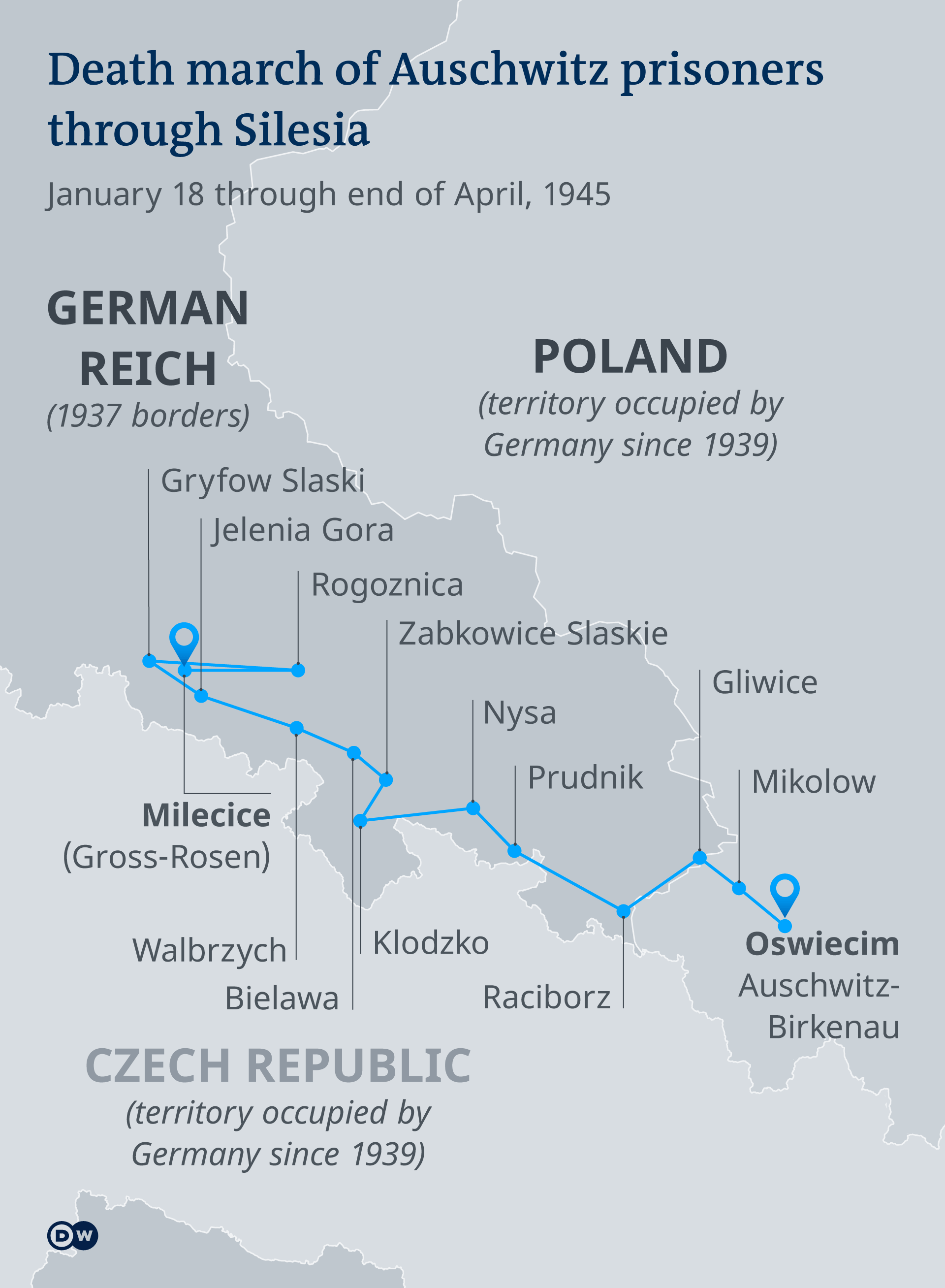 Map shows the route of the death marches in 1945