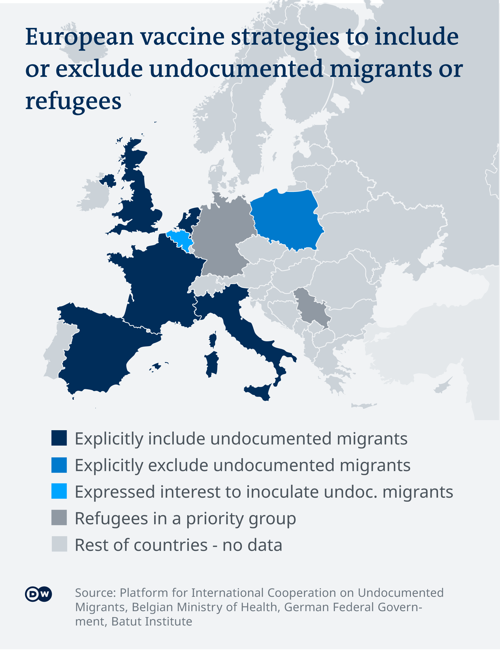 Infographic showing countries with strategies for vaccinating refugees and undocumented migrants and those that do not